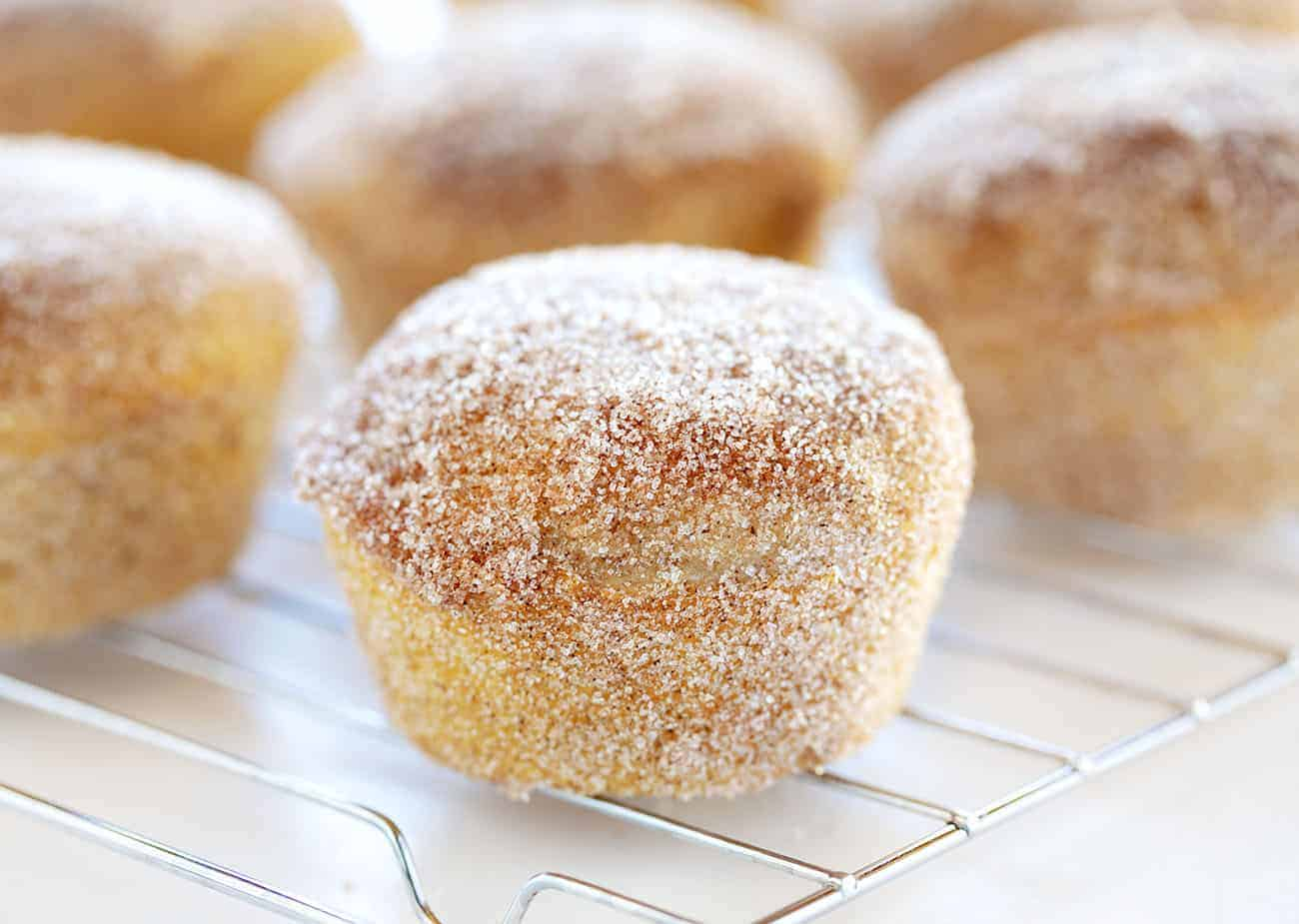 Cinnamon Sugar Donut Muffins on a Wire Rack
