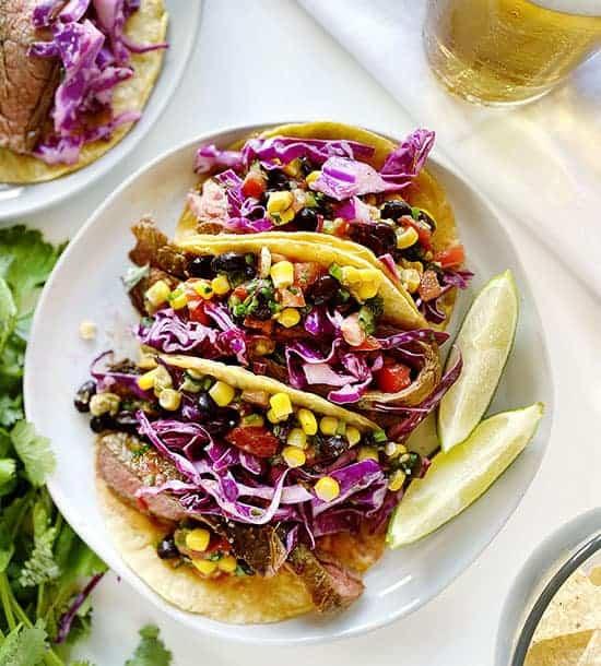 Overhead of Heart Healthy Steak Tacos