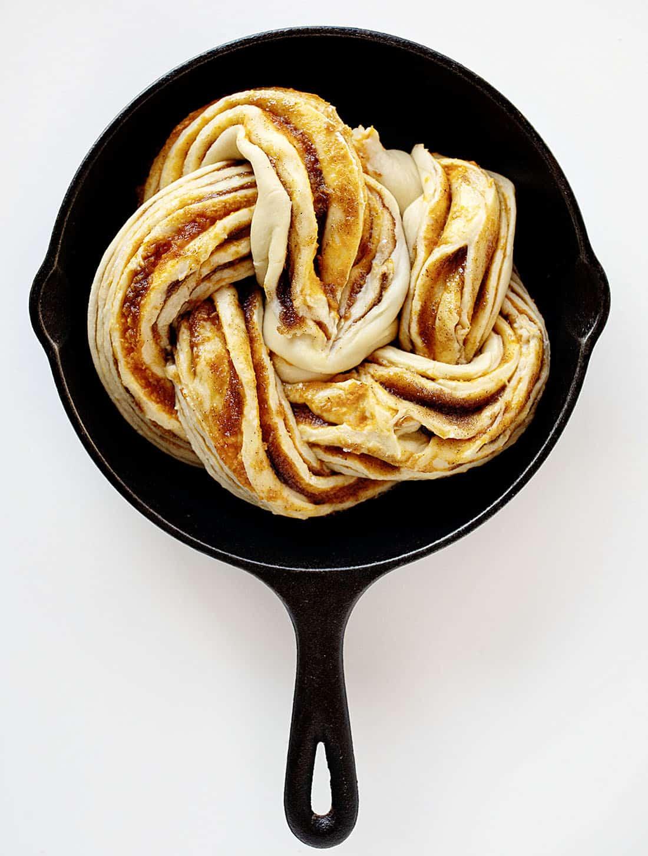Twisted dough in skillet for Pumpkin Spice Bread Twist