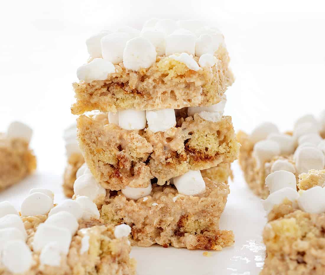 Stack of Snickerdoodle Rice Krispy Bars