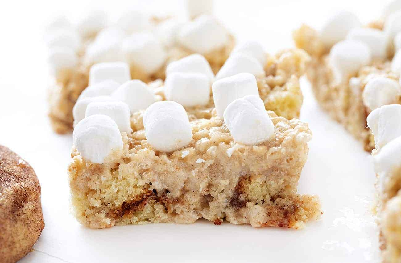 One Snickerdoodle Rice Krispy Bar