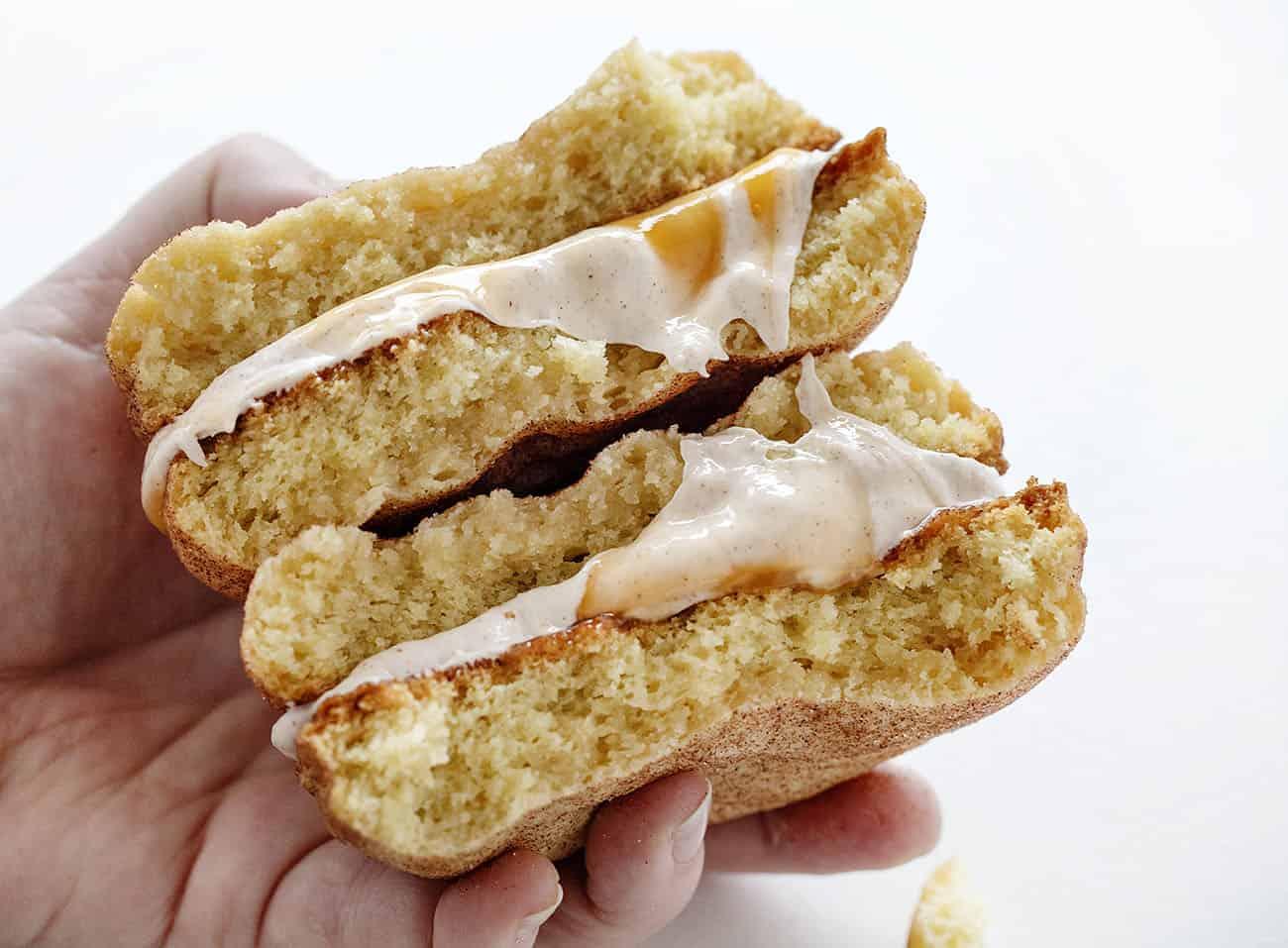 Broken in half Snickerdoodle Cookie Sandwich