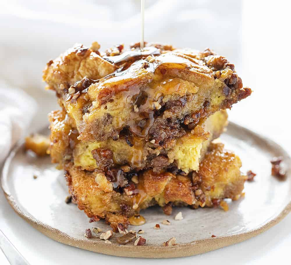 Stack of Baked Pecan French Toast