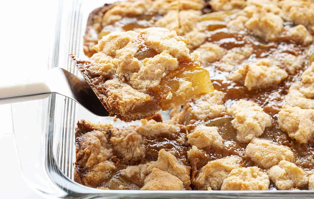 One piece from a pan of Caramel Apple Dump Cake