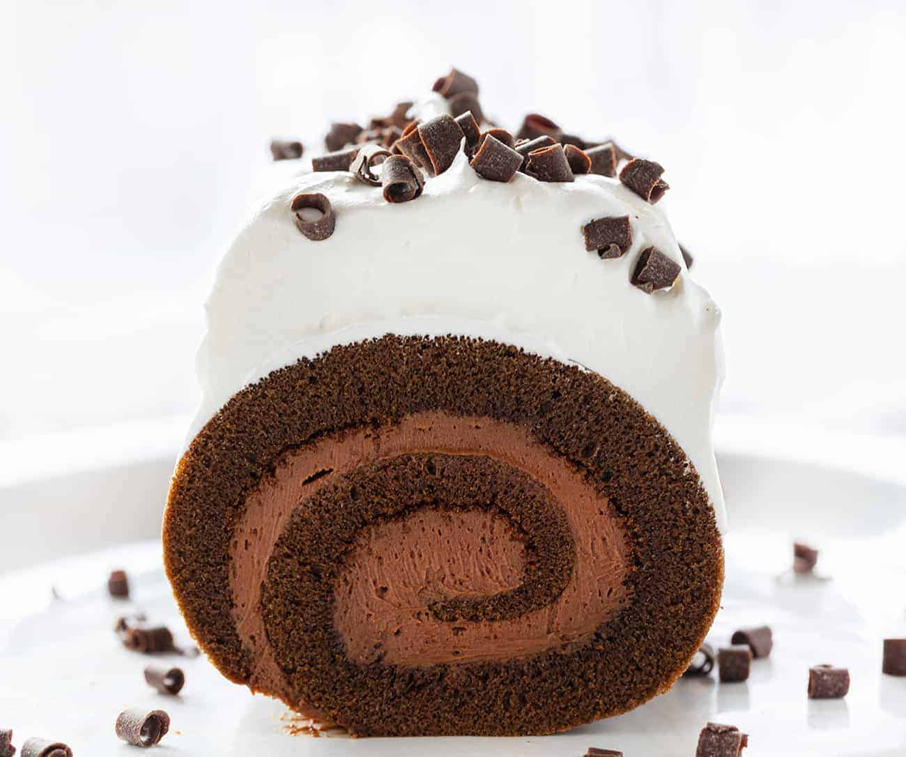Sliced into French Silk Cake Roll