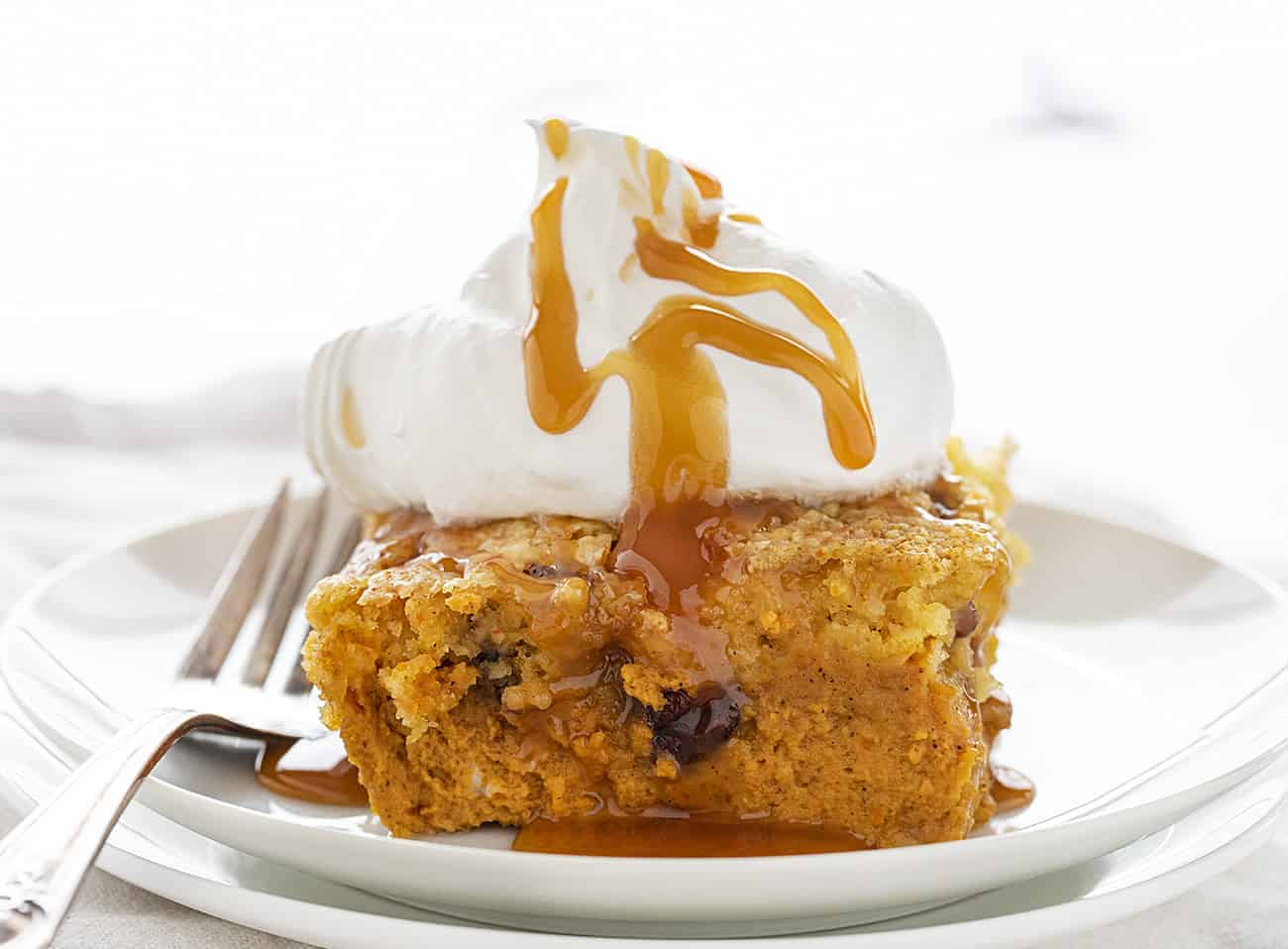 One piece of Pumpkin Pecan Dump Cake