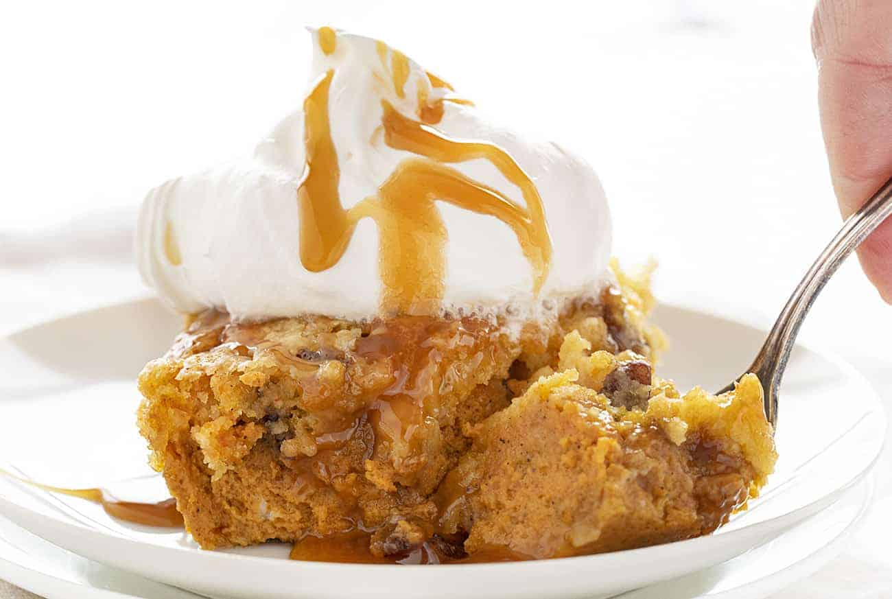 Fork full of Pumpkin Pecan Dump Cake