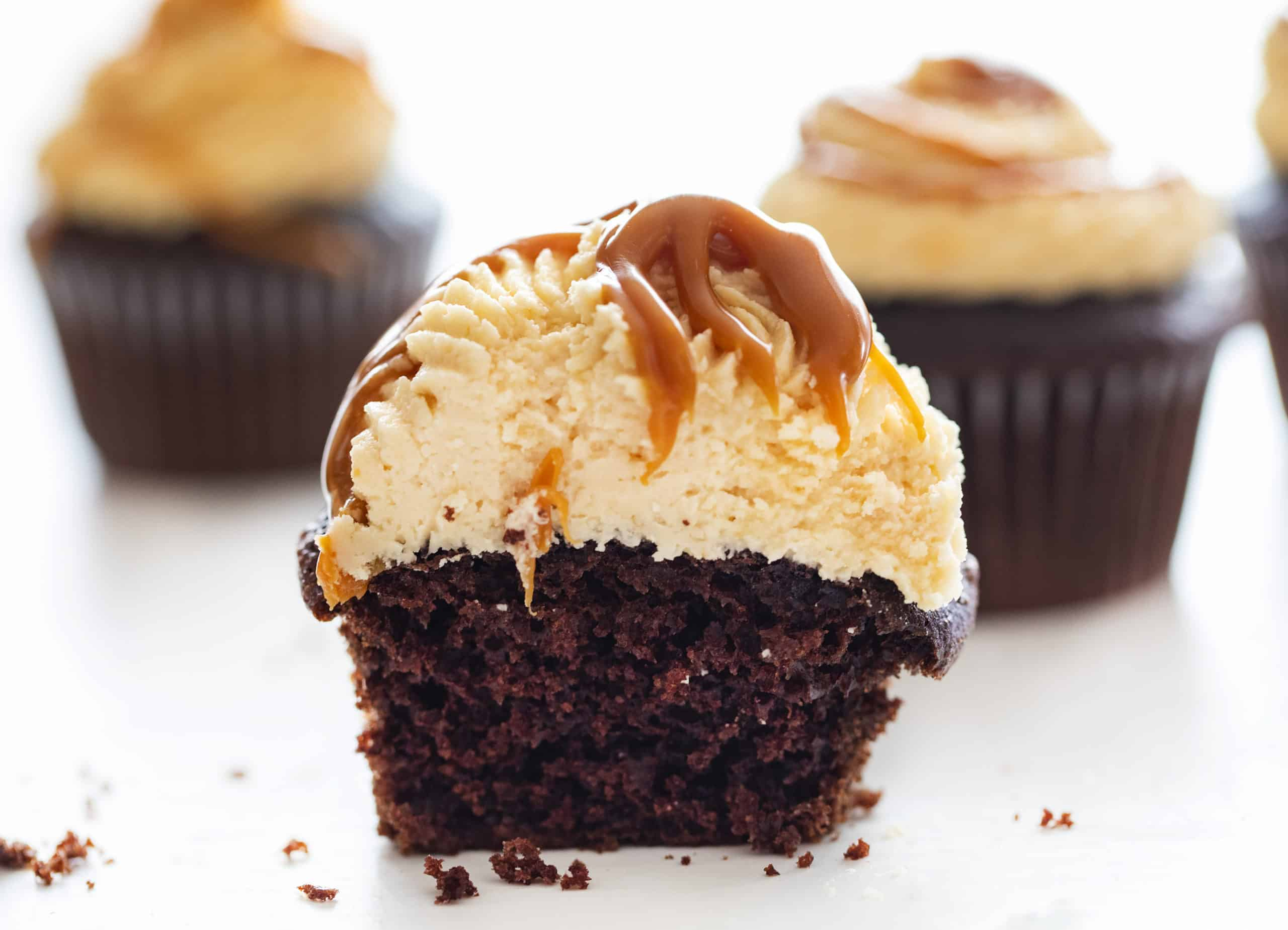 Cut into Chocolate Cupcakes with Salted Caramel Buttercream