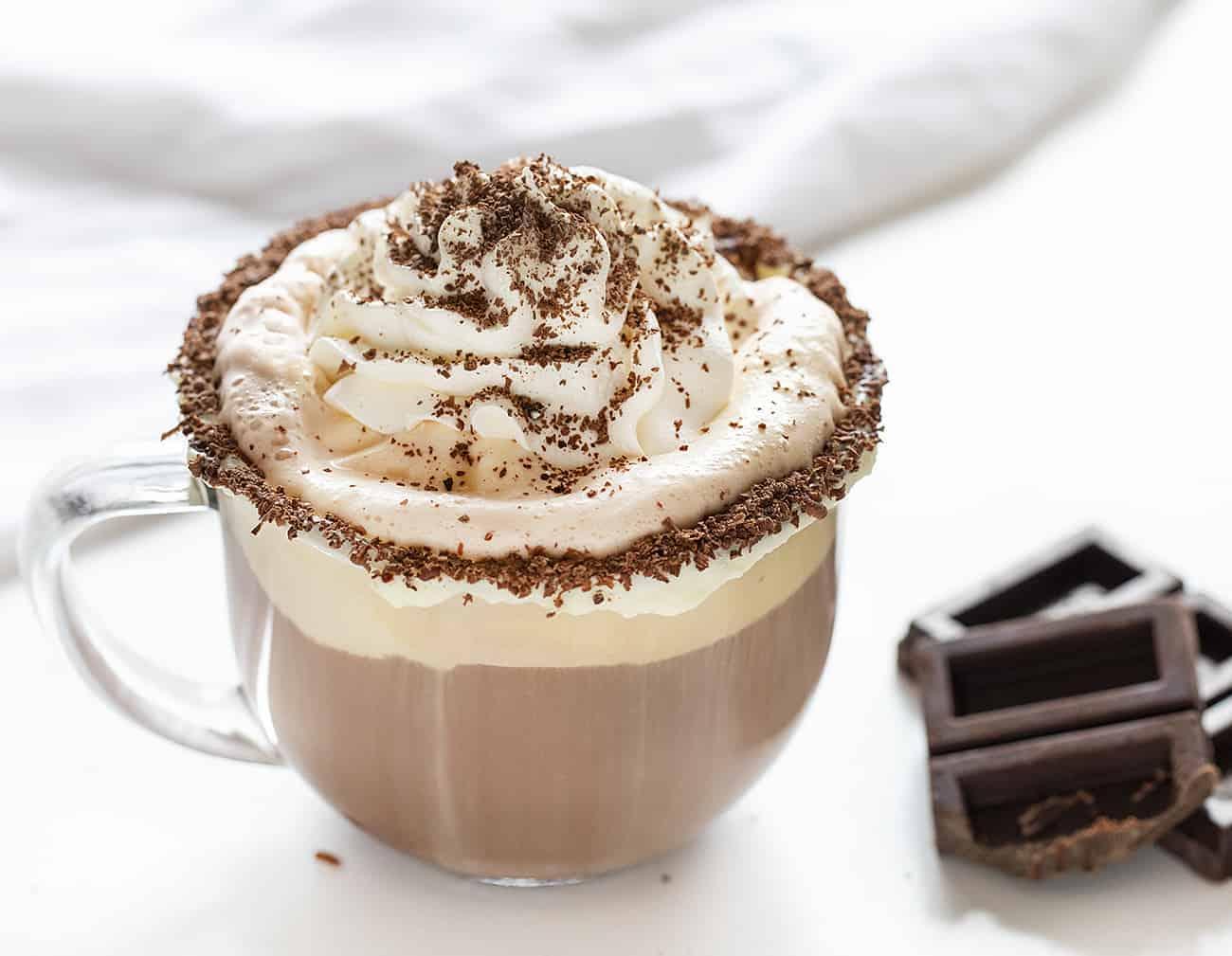 Drunken Snowman Drink Recipe next to Shaved Chocolate