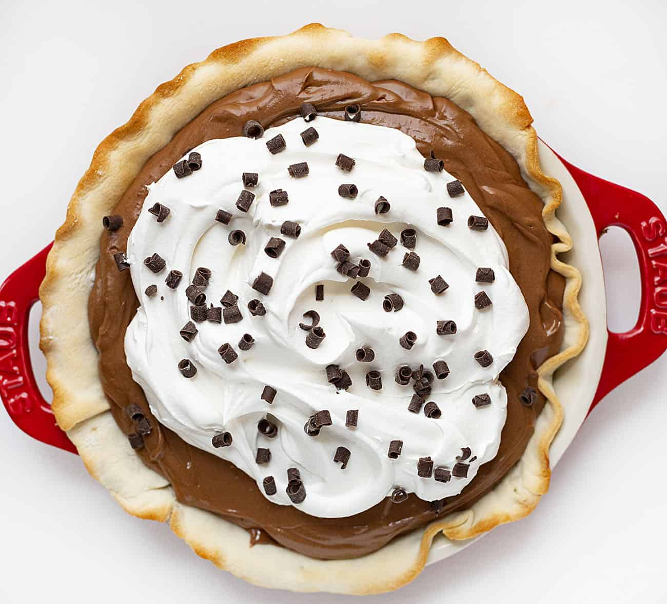 Overhead of French Silk Pie in Red Pie Plate