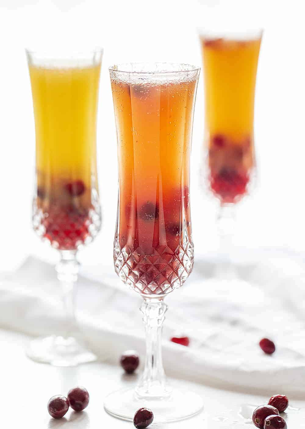 Three Glasses of Cranberry Mimosa