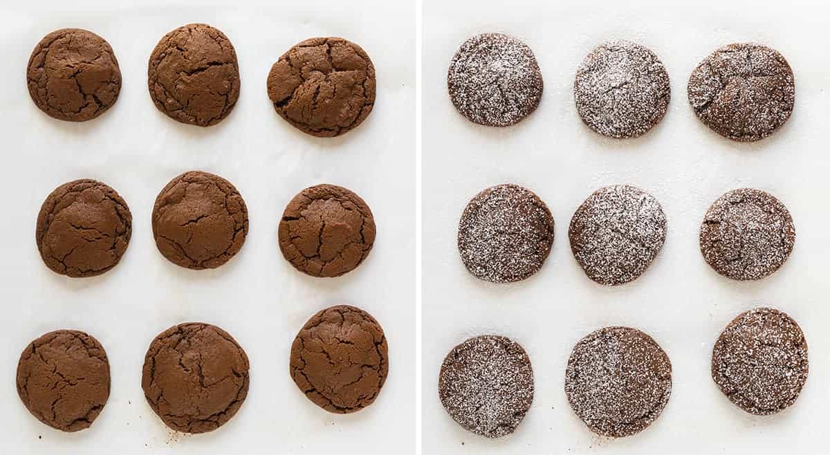 Peppermint Patty Stuffed Chocolate Cookies with and without Confectioners Sugar