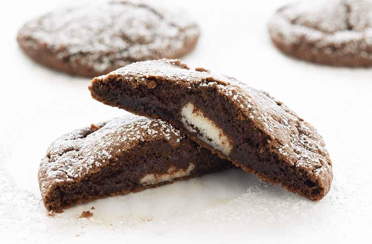 Broken Peppermint Patty Stuffed Chocolate Cookie