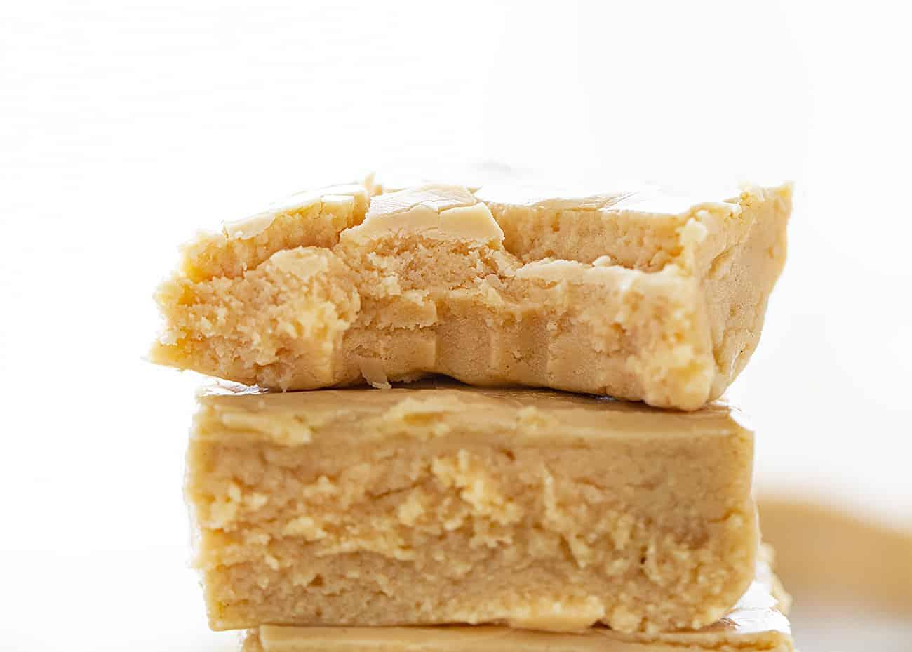 Piece of bit into Creamy Peanut Fudge