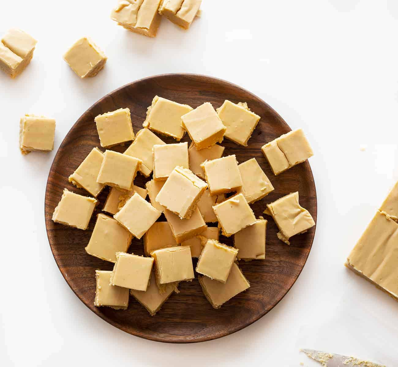 Creamy Peanut Fudge on Wooden Plate
