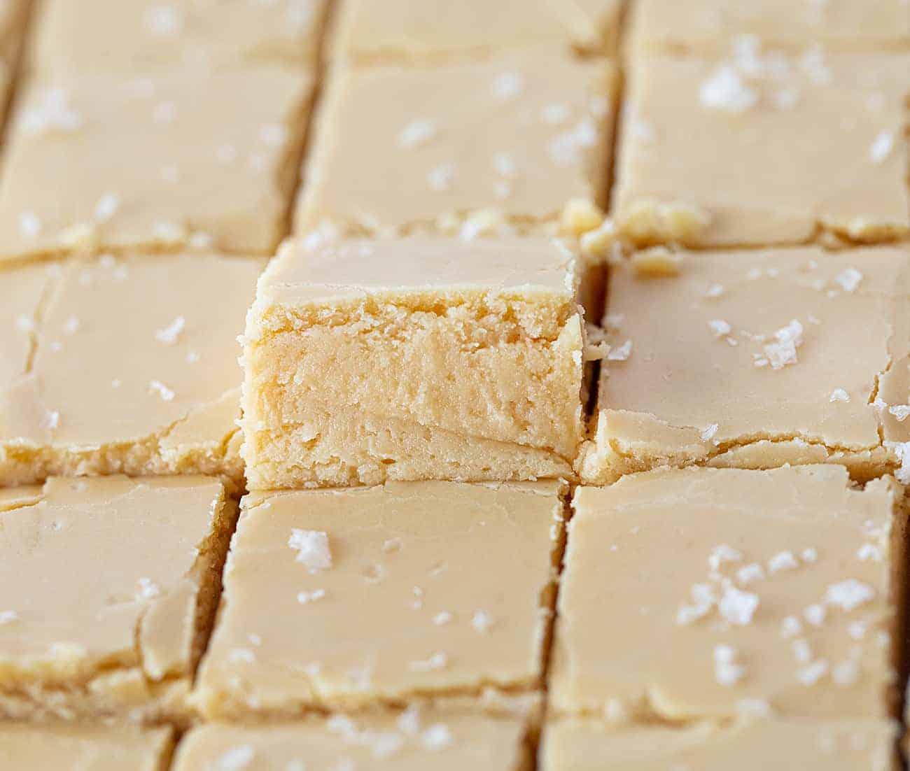 Pieces of salted caramel fudge cut