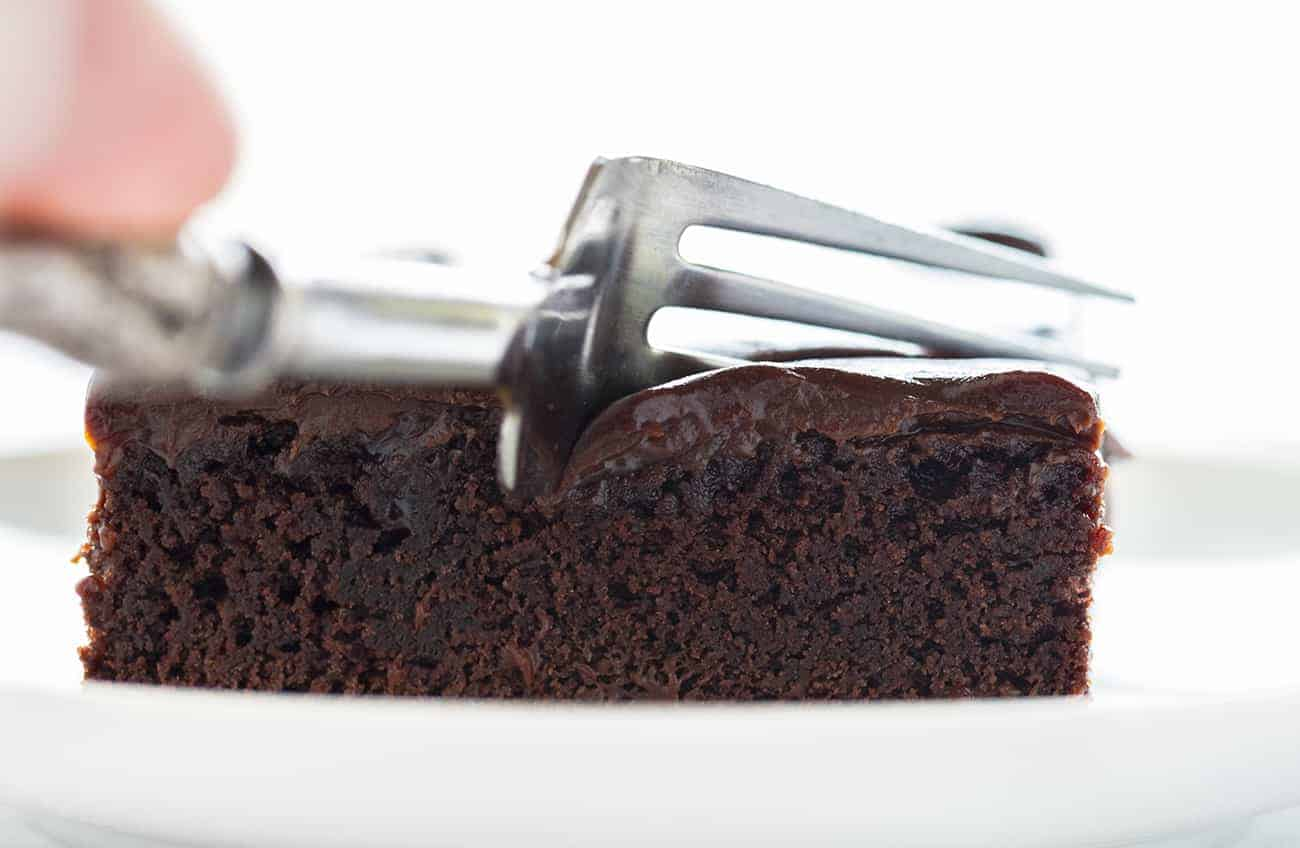 Chocolate Cherry Brownies Cut with a Fork