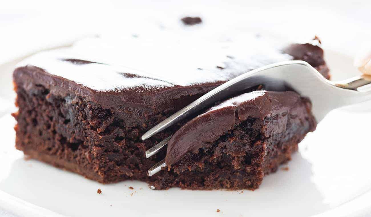 Chocolate Cherry Brownies Fork Bite