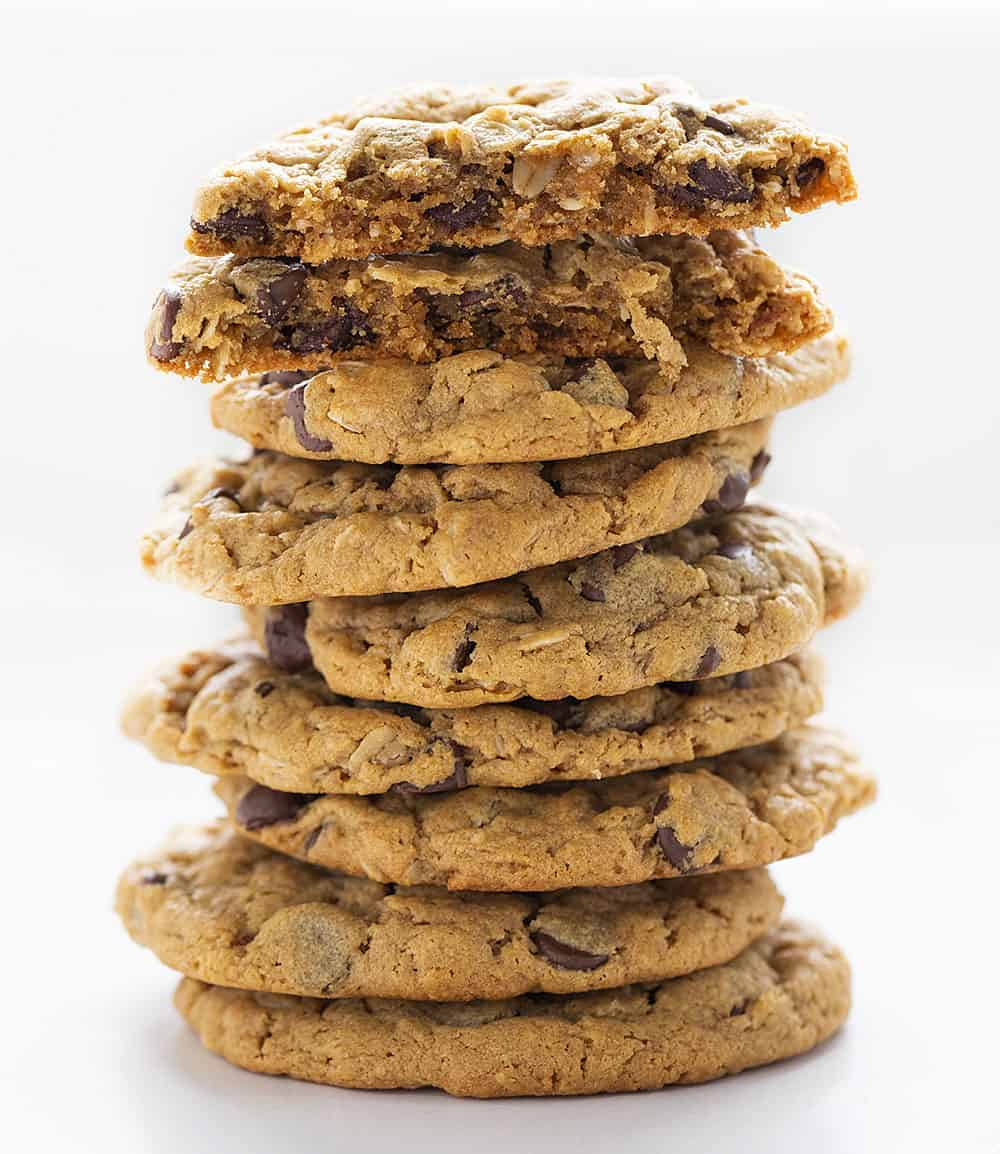 Stack of Flourless Peanut Butter Chocolate Chip Cookies with Broken Cookie on Top