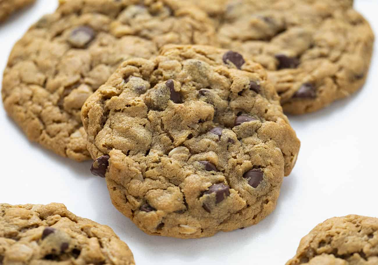 Flourless Peanut Butter Chocolate Chip Cookies on White Surface