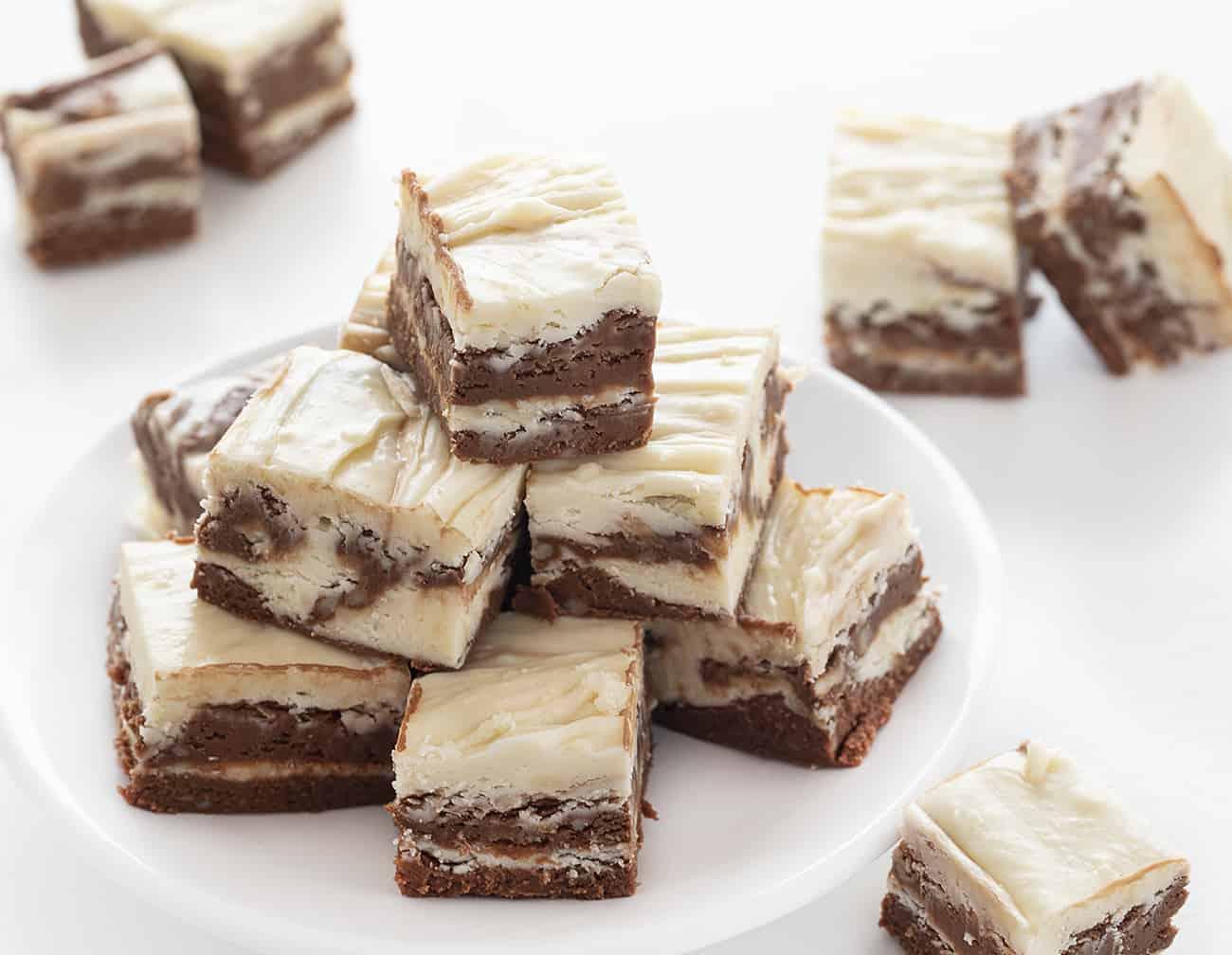 Plate of Chocolate Vanilla Marble Fudge Stacked