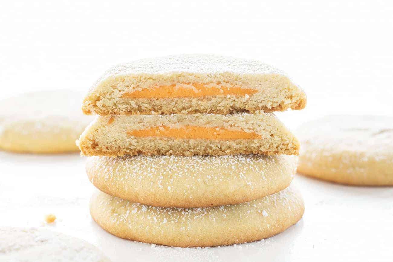 Orange Creamsicle Stuffed Sugar Cookies Cut Open