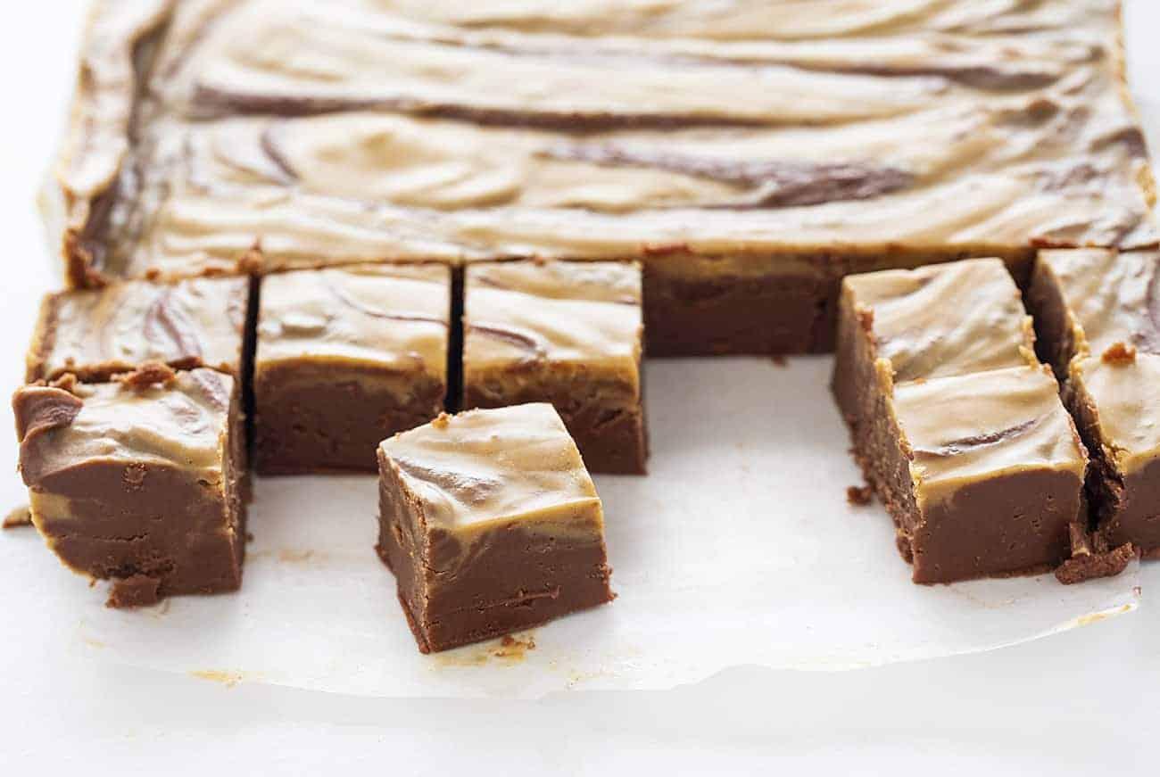 Cut Pieces of Chocolate Peanut Butter Fudge