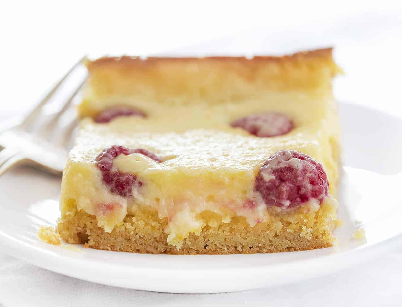 One Piece of Raspberry Lemon Ooey Gooey Cake