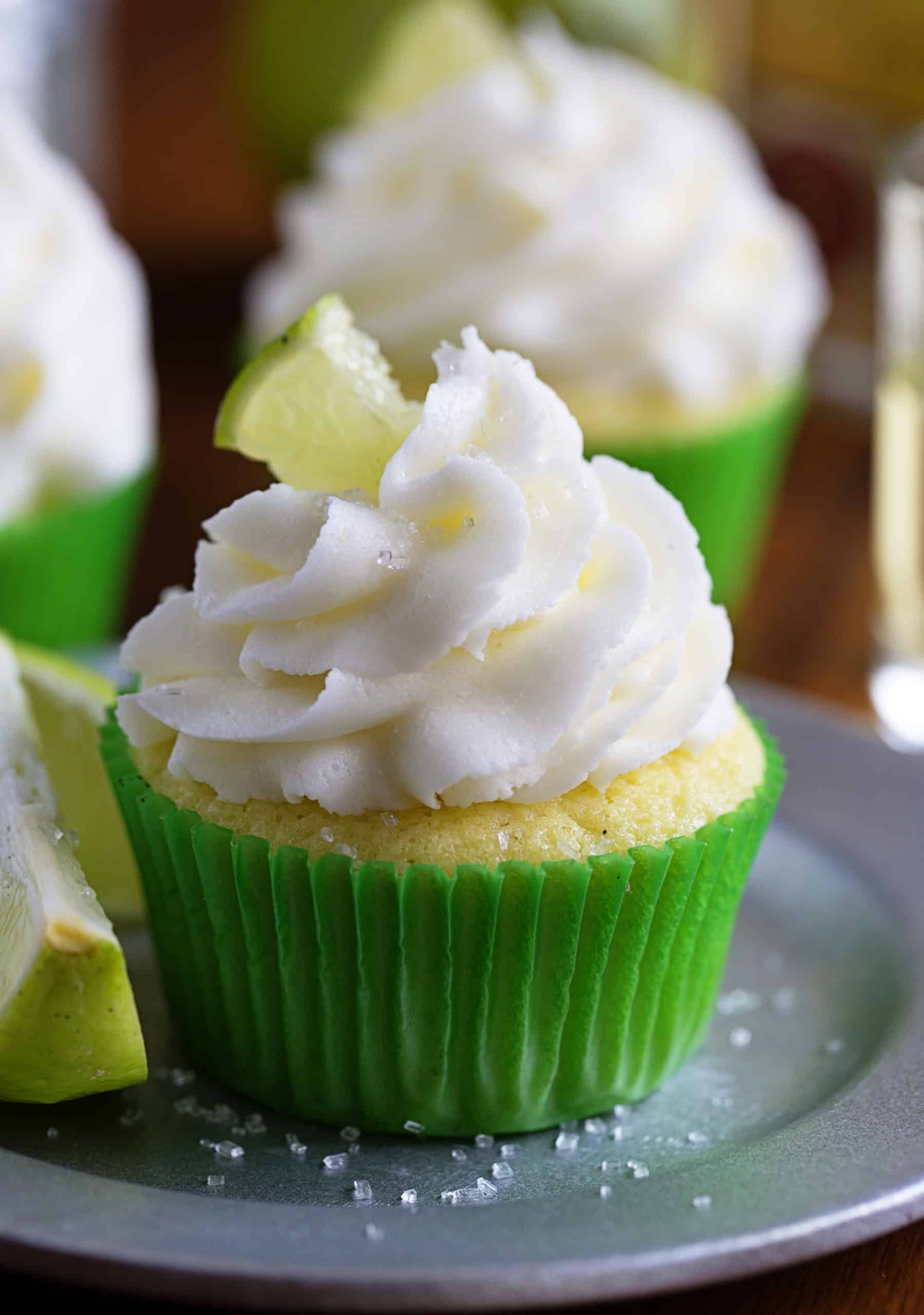 One Margarita Cupcake with Lime Garnish