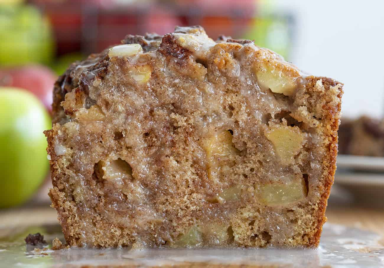 Cut into Apple Fritter Bread with Warm Glaze