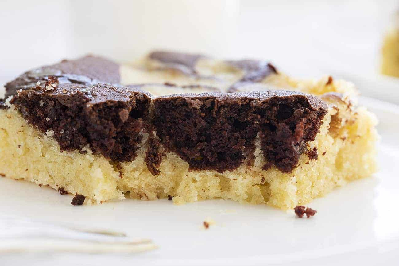 Piece of Moist Marble Sheet Cake with Perfect Chocolate and Vanilla Crumb