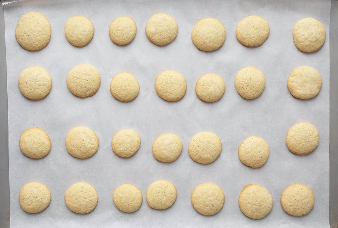 Overhead view of Homemade Vanilla Wafers on a Sheet-pan