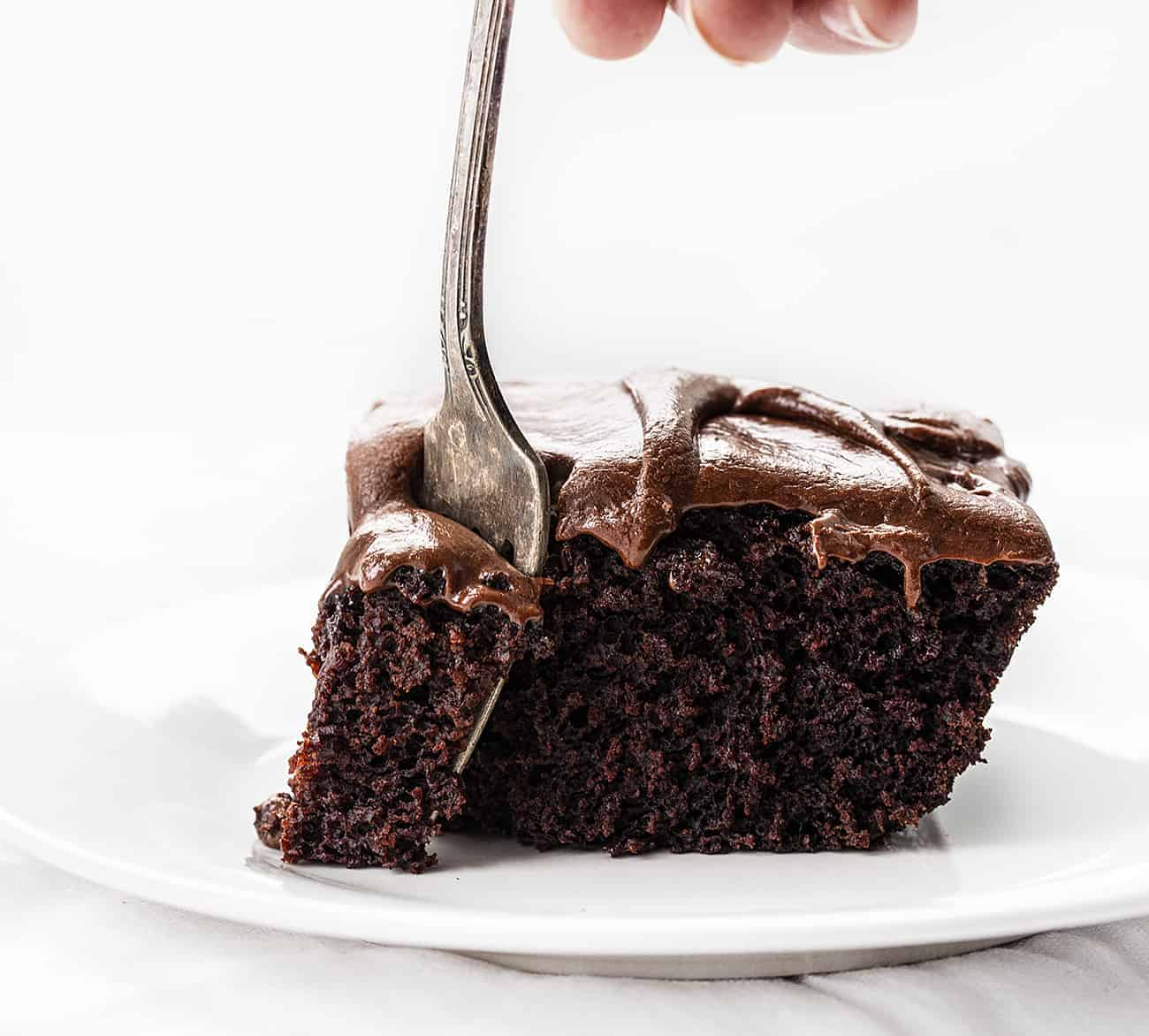 Fork Taking Bite out of Chocolate Depression Cake - Wacky Cake