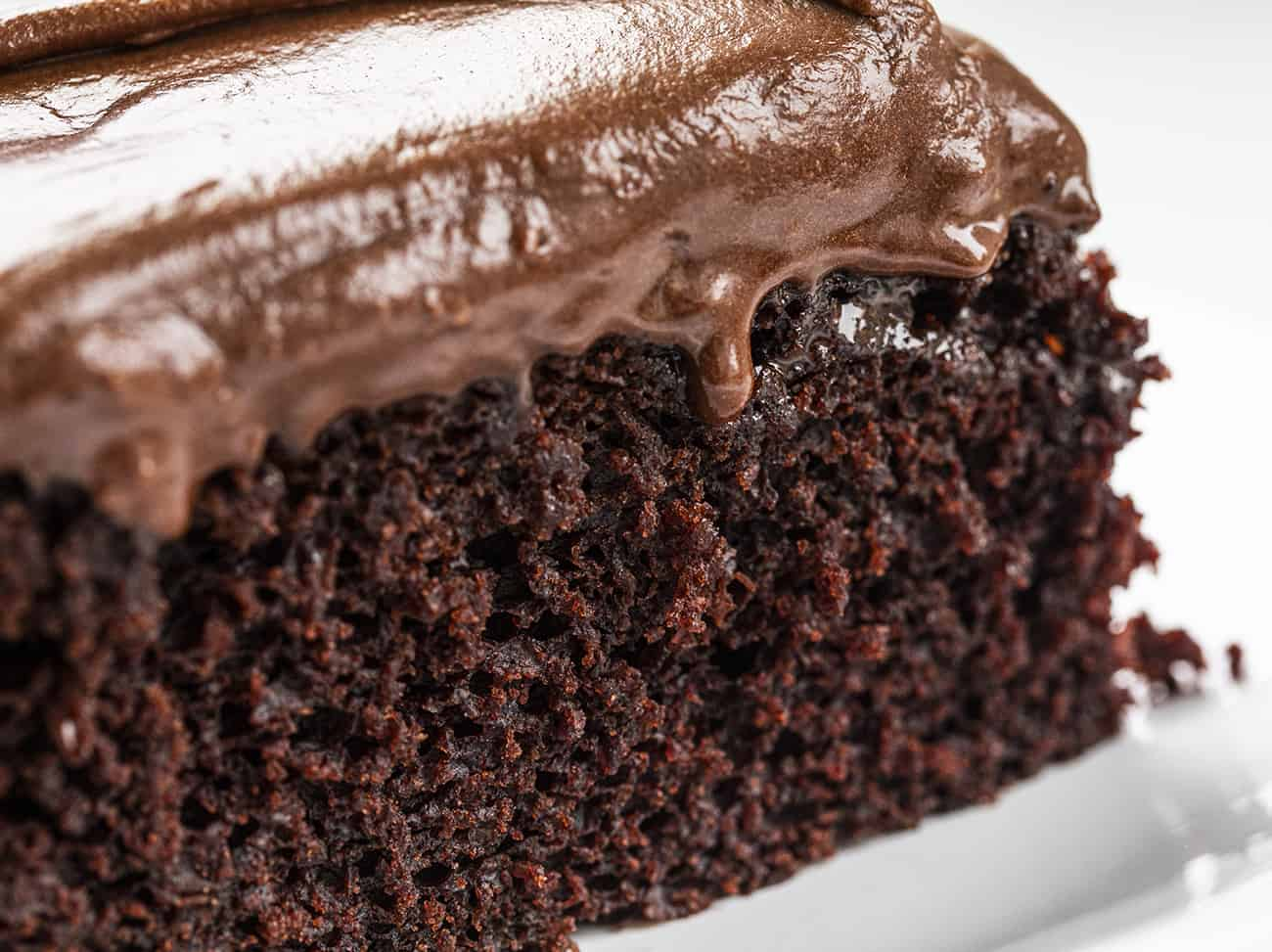 Close up of Chocolate Depression Cake with Chocolate Frosting Dripping