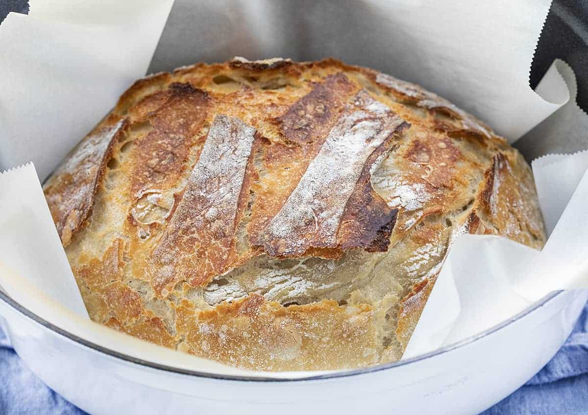 Baked Sourdough Bread in a Dutch Oven with Parchment Paper