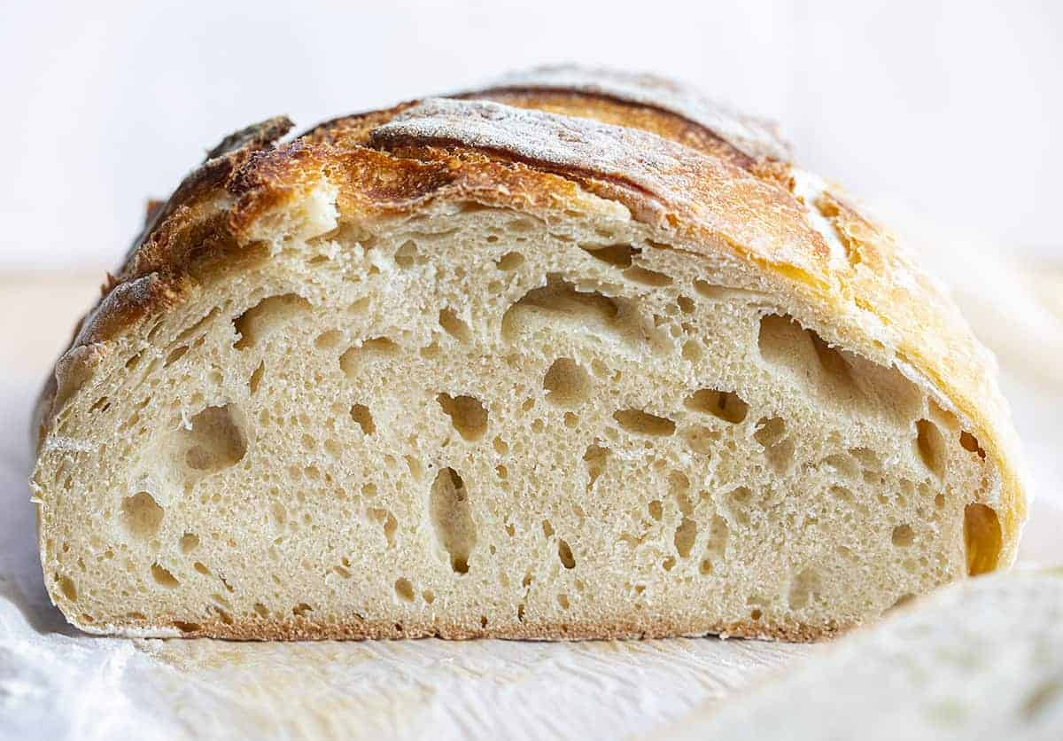 Loaf of Sourdough Bread Cut Into