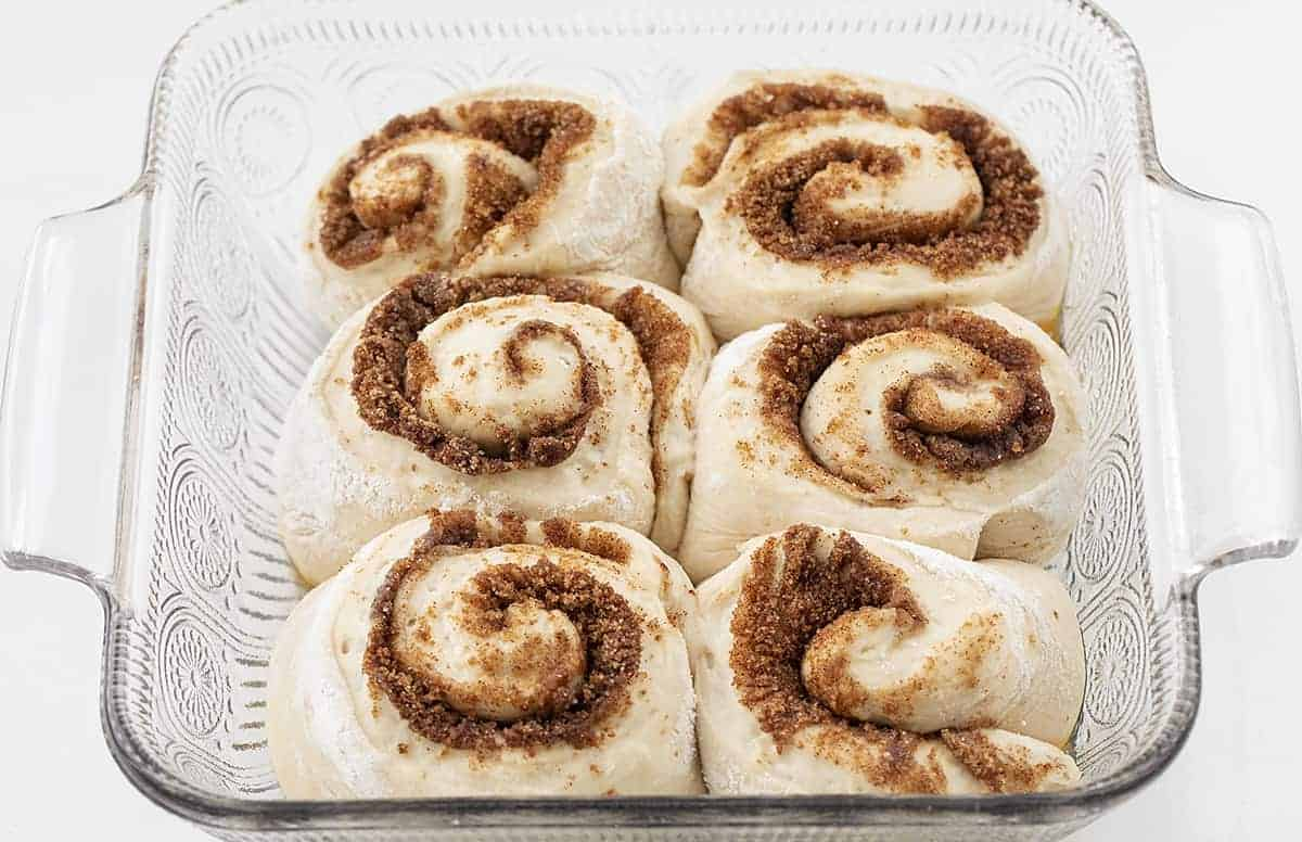 Sourdough Cinnamon Rolls After They Have Risen