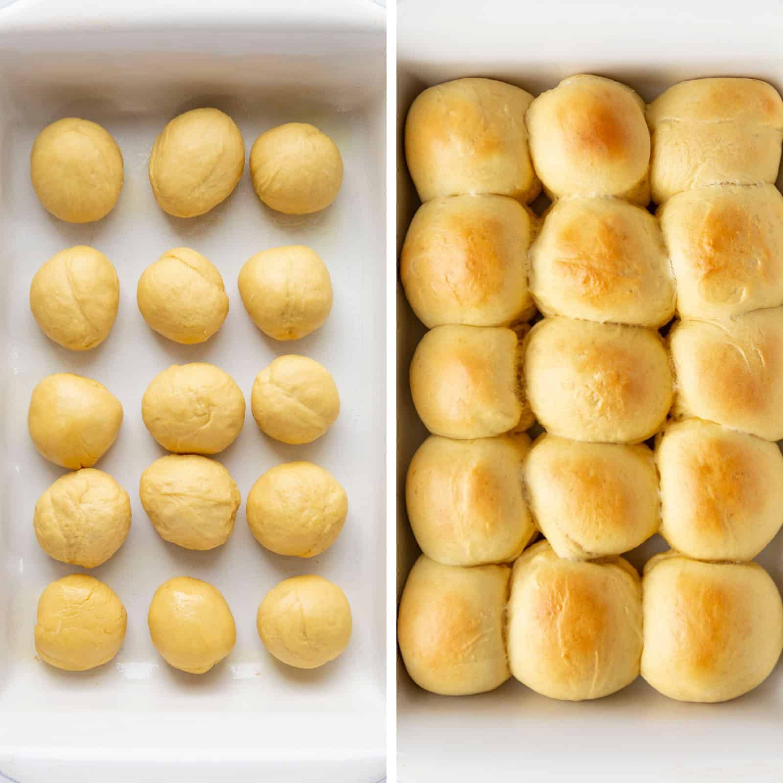 Process of Hawaiian Rolls with One Image of the Raw Dough and One of the Baked Rolls