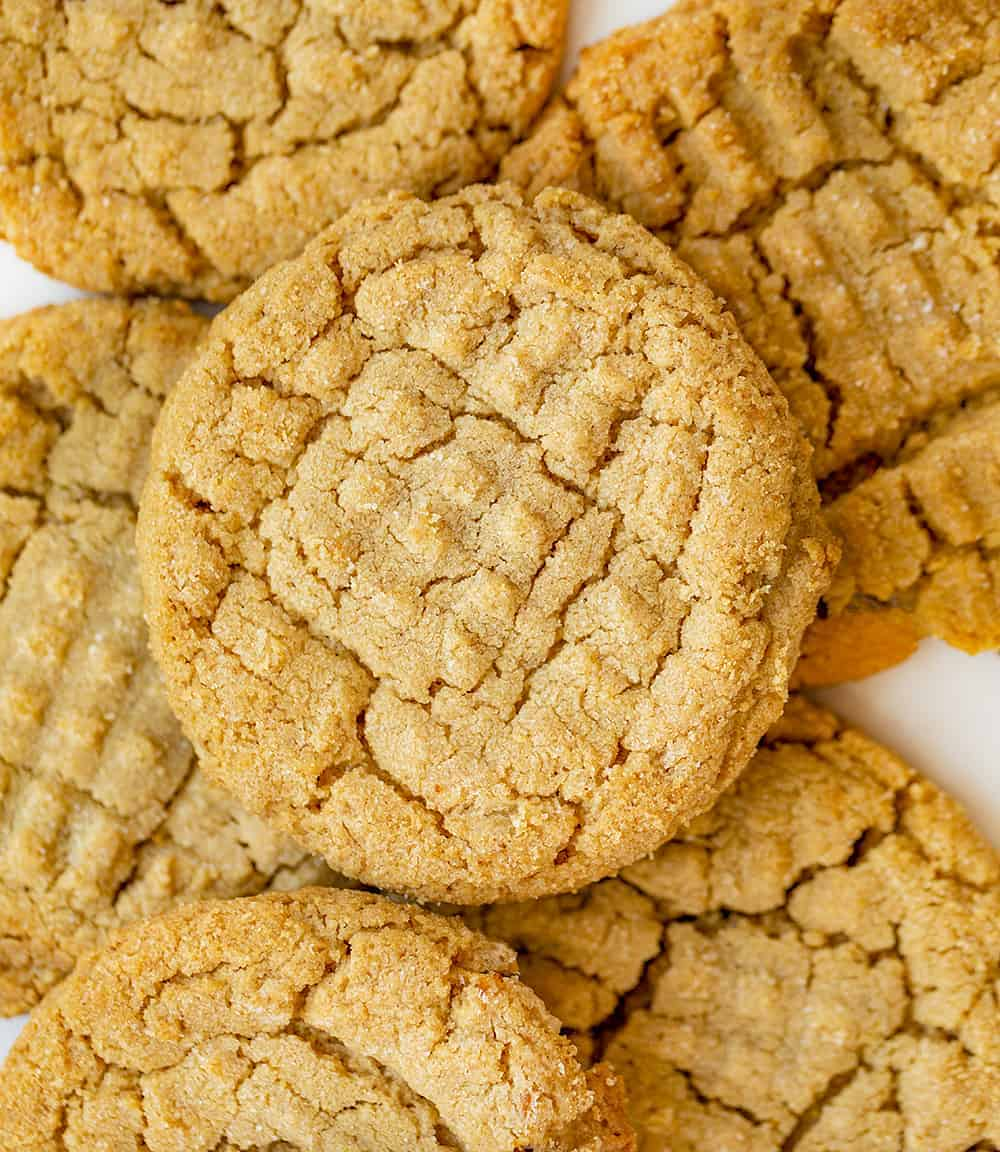 Three Ingredient Peanut Butter Cookies From Overhead all Layed out on Counter