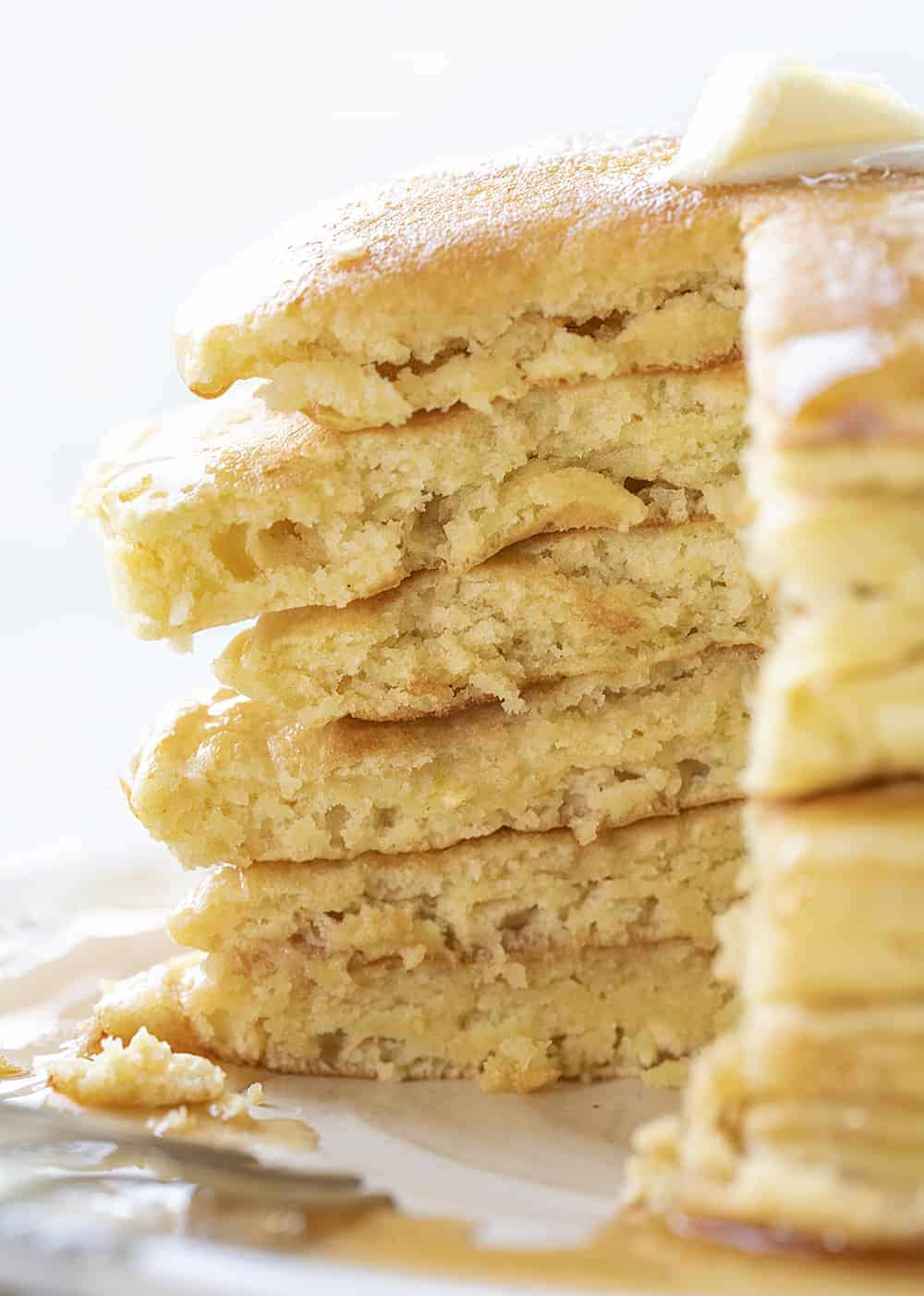 Stack of Cut Into Sourdough Pancakes