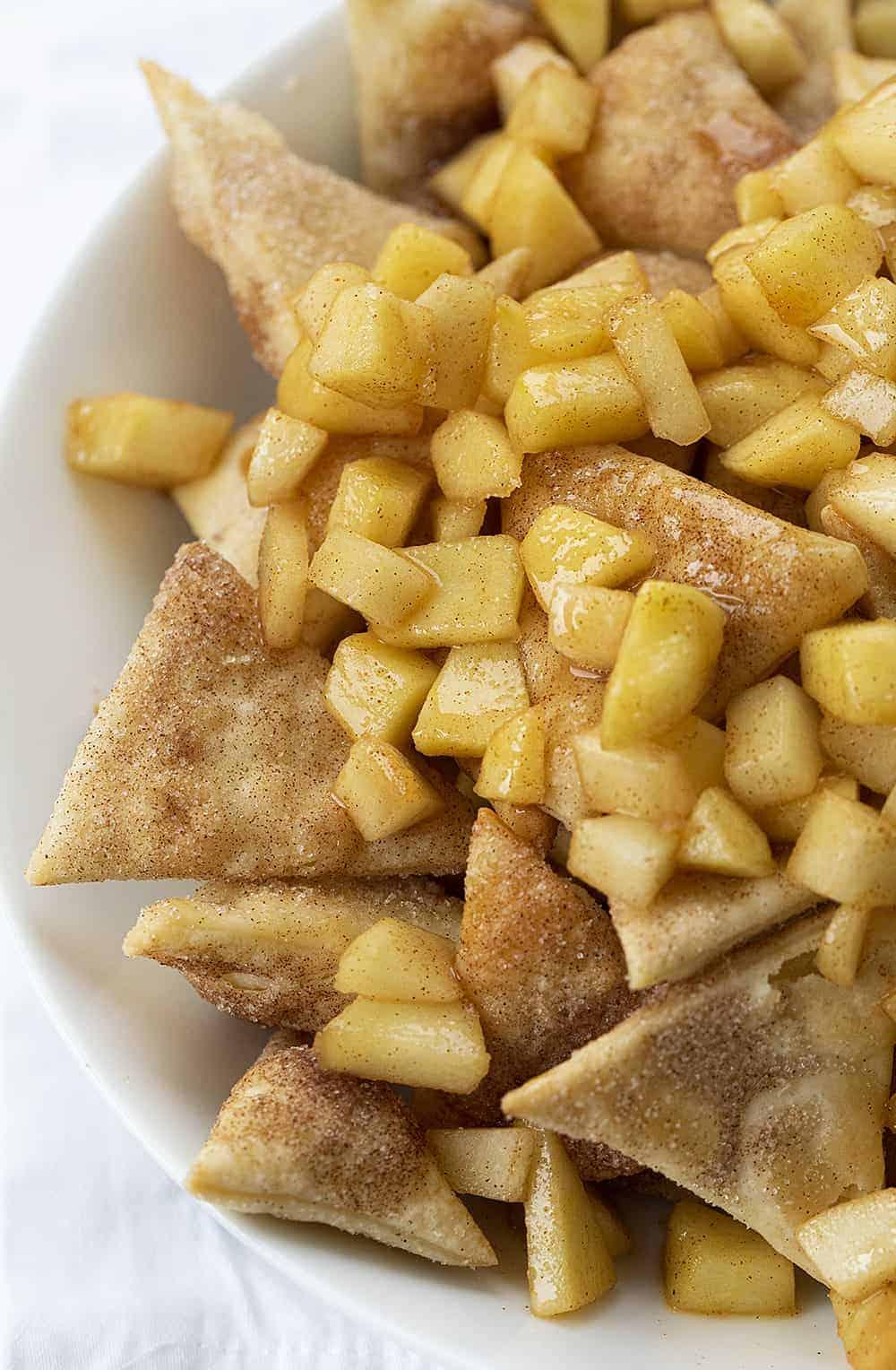 Close Up of Bowl of Apple Pie Nachos on White Napkin