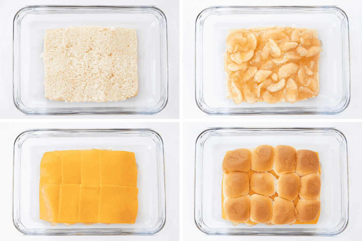 Process Shots of Apple Cheddar Sliders with the Layers of ToppingsBeing Added
