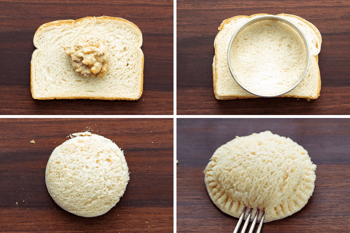Process of Making Banana Bread French Toast Pockets - Bread, Adding Filling, Cutting Out Bread, Sealing Bread with Fork