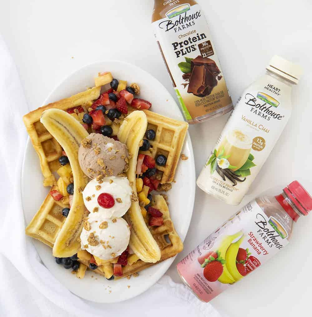 Breakfast Banana Split from Overhead Showing Bolthouse Products