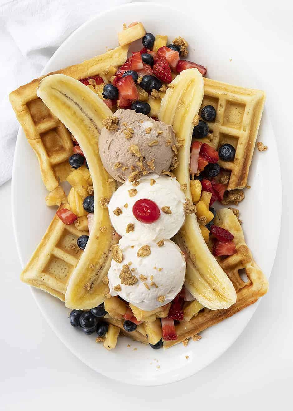 "Overhead Image of Breakfast Banana Split with Waffles, Fresh Fruit, and ""faux"" ice cream"