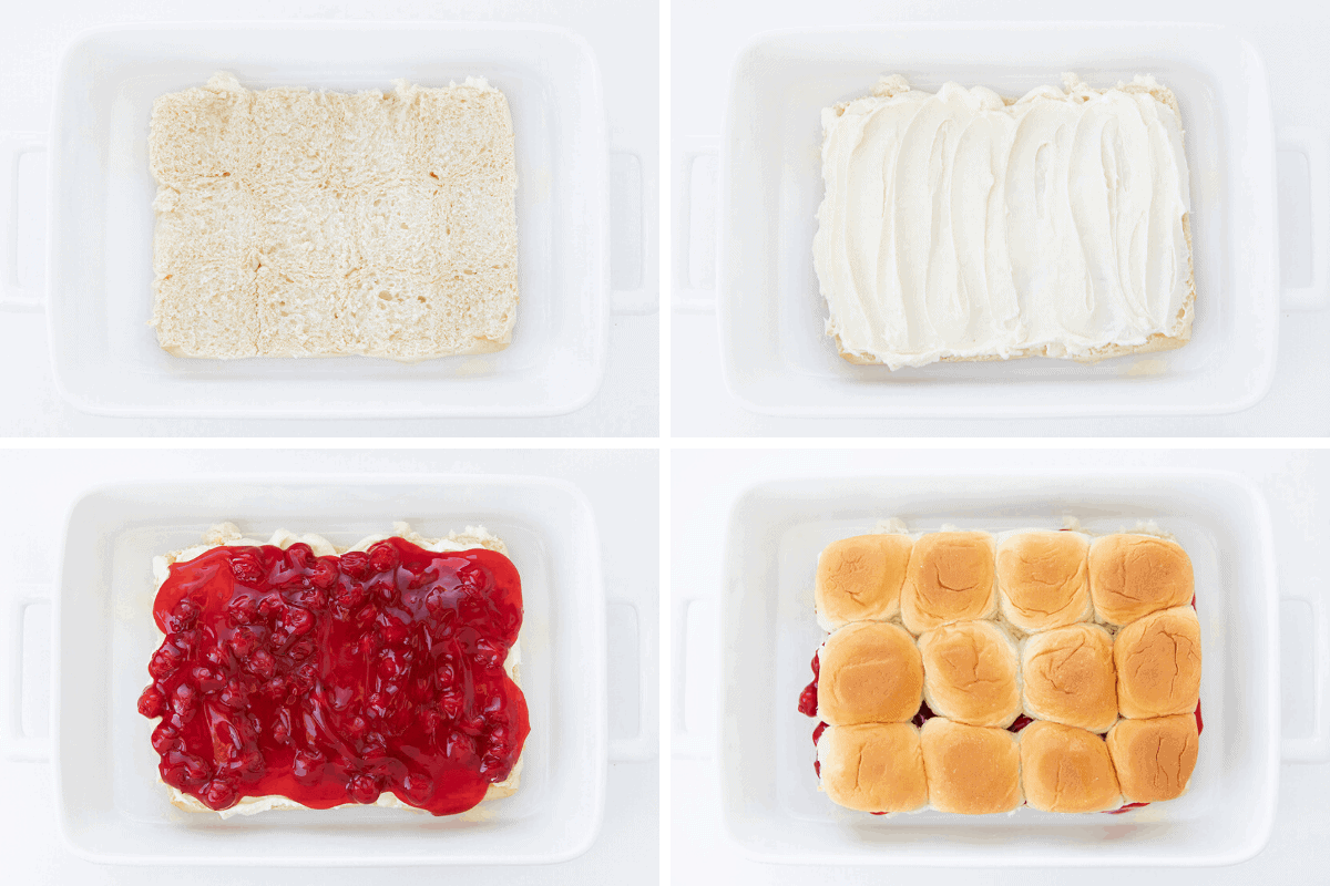 Process Shots for Cherry Cheesecake Slider - Hawiian buns in pan, then a layer of cream cheese, then layer of cherry pie filling, then top buns