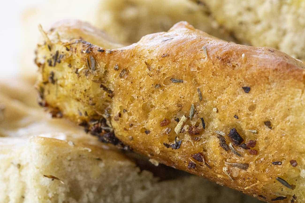 Crusty Edge of a Piece of Focaccia Bread