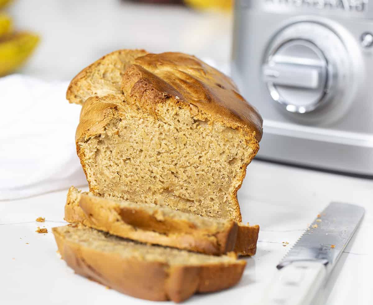 Cut Into Loaf of Blender Peanut Butter Bread