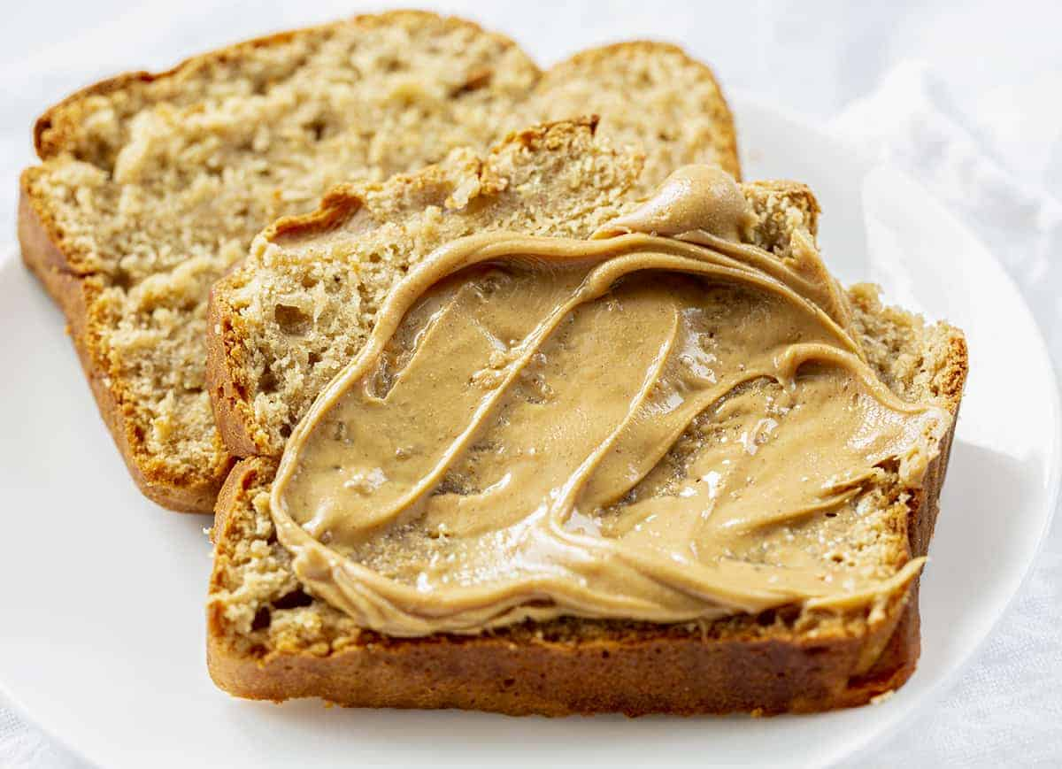 Slices of Peanut Butter Bread with more Peanut Butter on Top