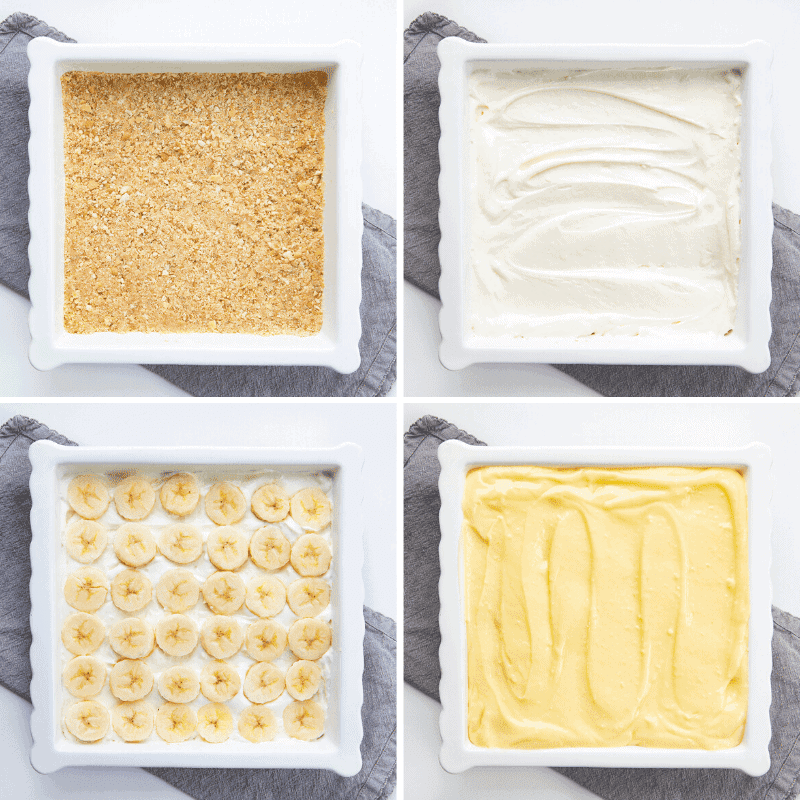 Process Shots of the Crust, Cream Cheese Filling, Bananas, and Vanilla Pudding in White Baking Dish